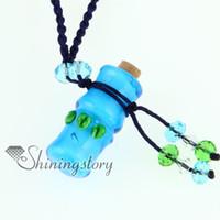 murano parfüm şişeleri toptan satış-Bambu parfüm şişesi İtalyan venedik lampwork şişmiş murano cam kolye kolye takı