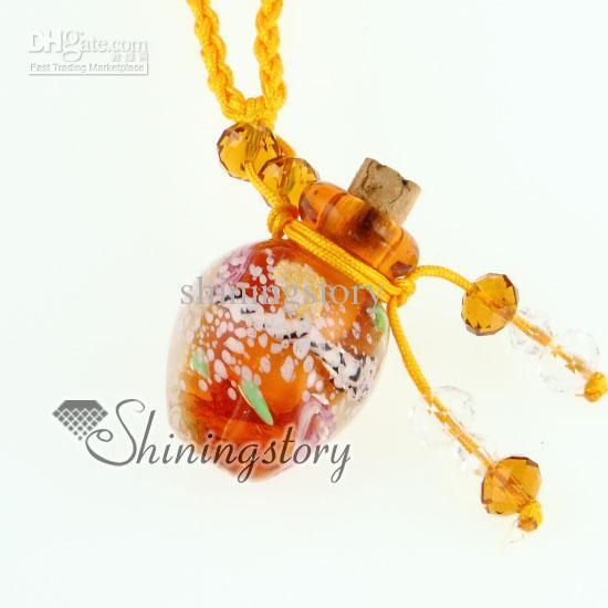 Colgantes de cristal de murano pequeño deseo botella encanto colgante collares viales vacíos collares para cenizas botella de perfume vintage colgante collares
