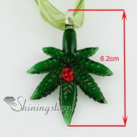 Wholesale Wholesale Fused Glass Plates - Hemp leaf ladybug fused glass necklaces murano glass jewelry pendant Cheap china jewelry fashion jewelry mup122