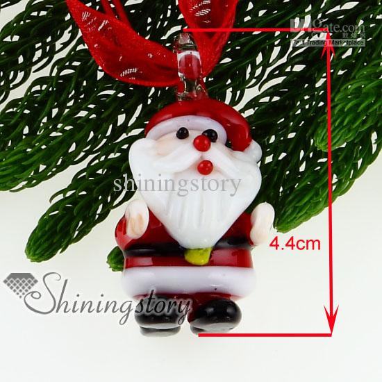 New design christmas Santa Claus lampwork murano glass pendants for necklace jewelry fashion jewelry in bulk mup121