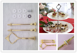 Wholesale Silver Cake Stand Fittings - Hot sale 3 Tier Cake Plate Stand Handle Fitting Gold and Silver