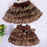 Wholesale Dress Big Bust - Girls Skirt Lerpard Ruffle Dress Blends Bust Skirt Bow kids Short Skirt Big pendulum 12pcs lot-2302