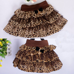 Wholesale Dress Big Bust - Girls Skirt Lerpard Ruffle Dress Blends Bust Skirt Bow kids Short Skirt Big pendulum 12pcs lot-2302