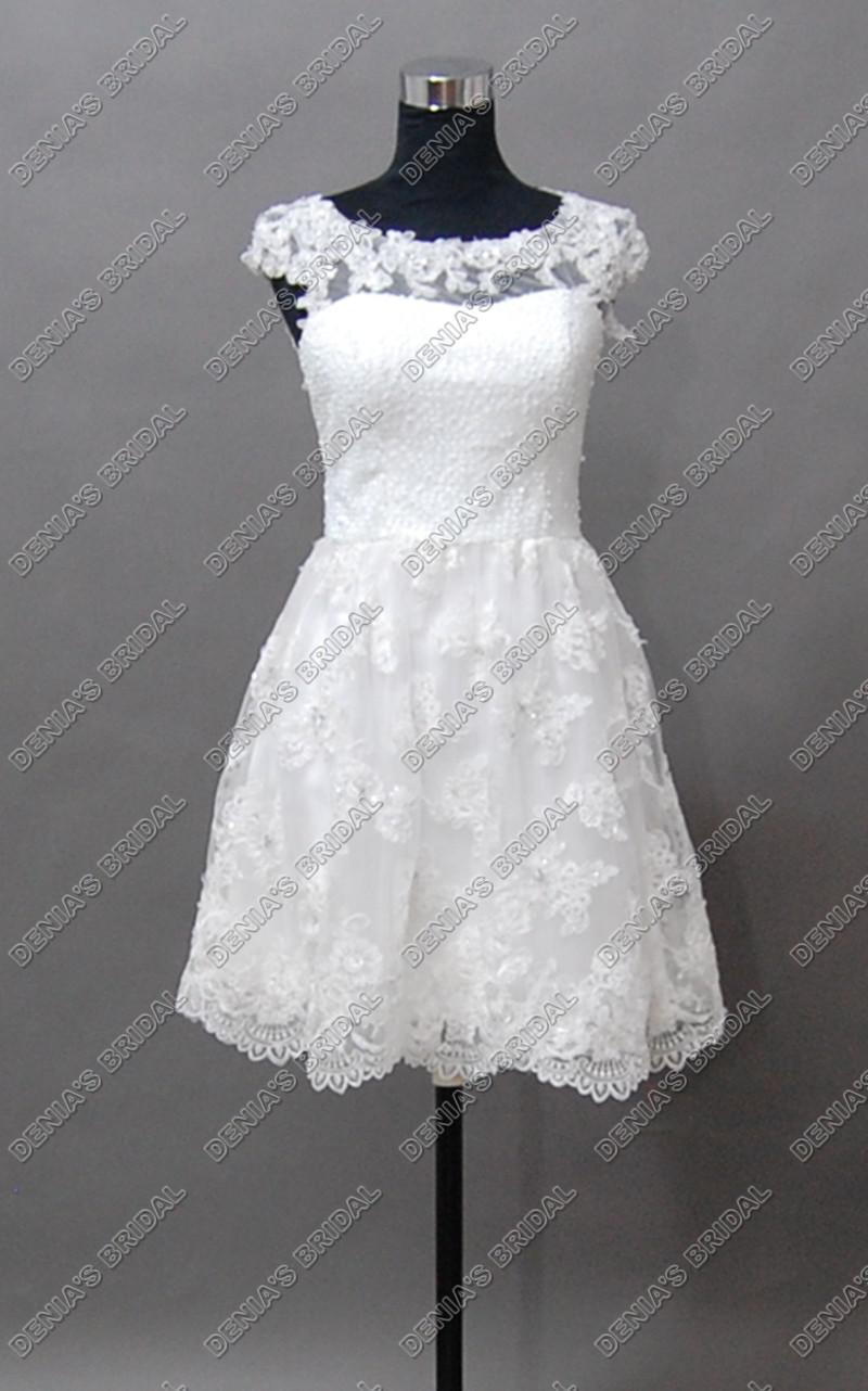 2017 strand trouwjurken a-lijn bateau halslijn pure kralen cap sleeves echte beelden kant bruidsjurken mini kleine witte jurken