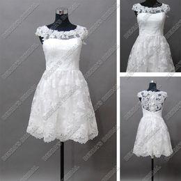 Wholesale little miss princess dresses - 2017 Beach Wedding Dresses A-Line Bateau Neckline Sheer Beaded Cap Sleeves Real Images Lace Bridal Gowns Mini Little White Dresses
