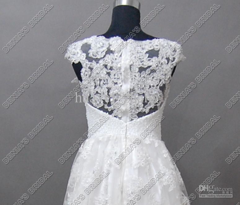 2017 Strand Brautkleider A-Line Bateau Ausschnitt Sheer Perlen Flügelärmeln Echt Bilder Spitze Brautkleider Mini Kleine Weiße Kleider