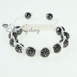 Wholesale Glitter Cord - White nylon string cord shining rhinestone glitter disco ball pave beads shamballa macrame bracelet