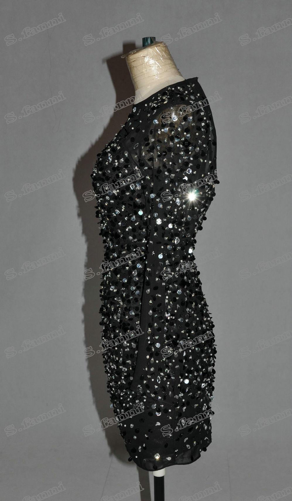 2021 새로운 도착 긴 소매 파란색 미니 파티 드레스 고객이 만든 칵테일 드레스 특별 행사 파티 가운 구슬