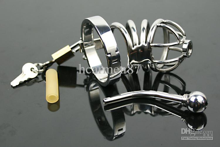 Volwassen seksspeeltje grote bondage kuisheid kooi roestvrij staal urethra stretching gay urethrale geluiden SM kuisheidsgordels metalen sex shop bdsm