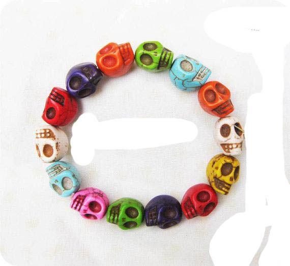 24 stks / partij Stretch Vislijn Multicolor Turquoise Skull Strand Armbanden