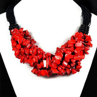 Wholesale Chipped Coral Jewelry - New Arrive Christmas Jewelry ! 18'' Chips Of Natural Red Coral On Necklace Handmade Gemstone Jewelry