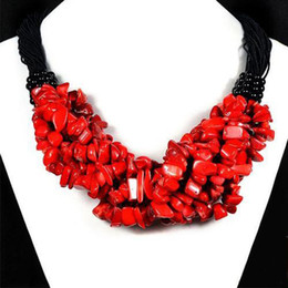 Wholesale Coral Chips - New Arrive Christmas Jewelry ! 18'' Chips Of Natural Red Coral On Necklace Handmade Gemstone Jewelry