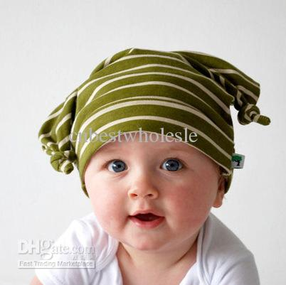 Top Baby baby Boy girls Caps spring summer toddlers kids infant lovely stripe crochet hats polka dots cap