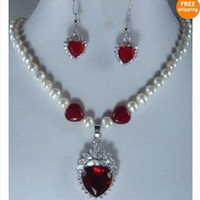 Wholesale Genuine Ruby Necklace - New Arrive Christmas Jewelry ! AA7-8MM White Genuine Pearl & Heart Ruby Necklace Earring Jewelry Set