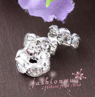 Banhado a Prata Rhinestone Round Beads MIC New 200X Spacers Loose Bead 8mm 10mm 12mm 14mm Metals