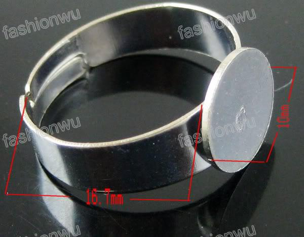 Dull silver Plated Adjustable size Round Ring Base Blank Open Rings Band Rings Jewelry DIY
