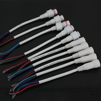 5 Paar weiße LED-Lichtleisten 4-poliges wasserdichtes Verbindungskabel