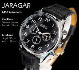 спортивные часы jaragar Скидка Jaragar мужские спортивные часы мужские механические автоматические из нержавеющей стали 6-контактный погружение черный кожаный ремешок для часов