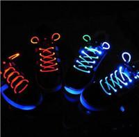 cordón de fibra al por mayor-30 unids (15 pares) Zapato LED Cordón de Fibra Óptica de Cordón Cordones de Zapato Luminoso Light Up Zapatos de encaje