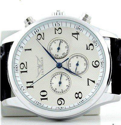 Jaragar mens relojes deportivos para hombre mecánico automático inoxidable 6 pin buceo negro correa de reloj de cuero