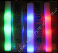 Wholesale Led Colorful Rods Foam - LED Colorful rods led foam stick flashing foam stick, light cheering glow Sponge stick foam led free EMS