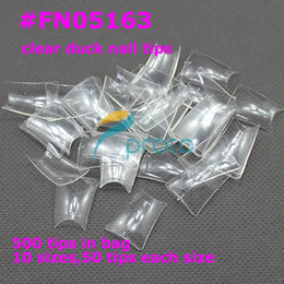 Wholesale Duck Feet Nails - [AA415]FREESHIPPING 500 Special Duck Feet french nail art tips half cover wide false nails retail