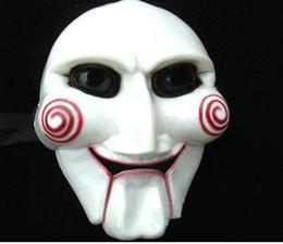 Wholesale Horror Saw Face - 10pcs lot Hot Plastic Halloween Masks Horrific Masks Scary SAW Masks Masquerade Masks Party Masks