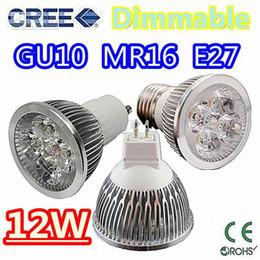 Wholesale Led 12w Rgb E14 - Retail High power CREE 12W 4x3W Dimmable GU10 MR16 E27 E14 B22 Led Light Lamp Spotlight led bulb