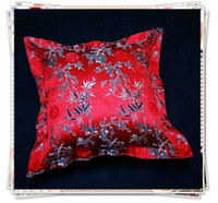 Wholesale Wholesale Ethnic Fabric Prints - Cheap Red 24 X 24 Cushion Covers Chinese Ethnic Silk Floral Fabric Designs 2pcs lot Free