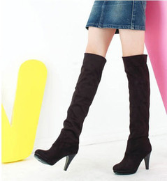 Wholesale Women Wearing Fur Heels - new autumn and winter the two wear elastic stretch boots high with knee boots women boots( 4 colors)