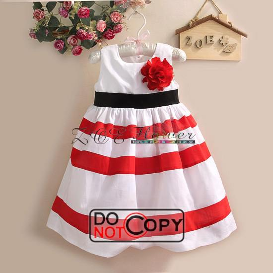 c26bca4f4 2019 2013 New Baby Girl Dresses Red And White Striped Flower Girl ...