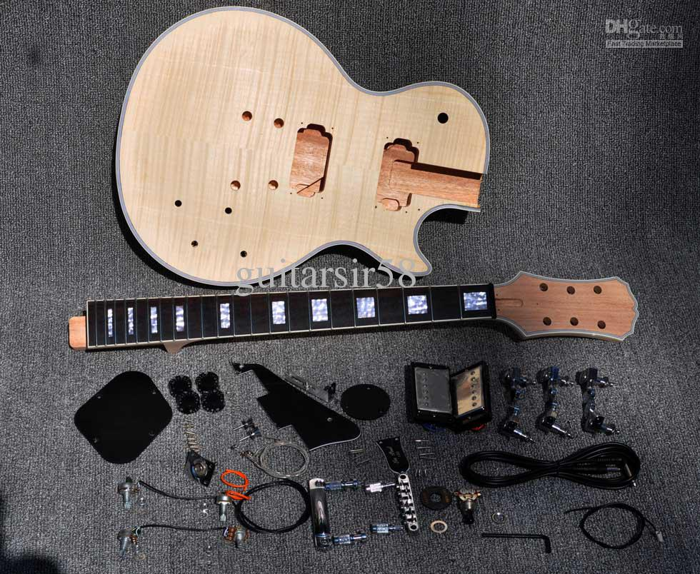 2012 unfinished electric guitar kit with flamed maple top diy guitar for custom shop style. Black Bedroom Furniture Sets. Home Design Ideas