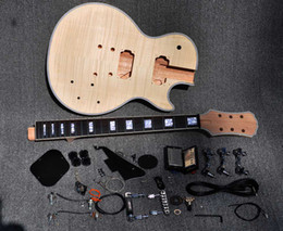 Wholesale Shop Kits - 2012 Unfinished Electric Guitar Kit With Flamed Maple Top DIY guitar For Custom Shop Style