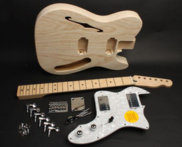 Wholesale Hollow Electric Guitar F Hole - '72 TL DIY Electric Guitar Kit With Semi Hollow Ash Body Maple Neck F hole 21 Fret