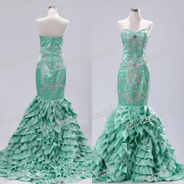 2016 Fashional Real Photo Mermaid alta calidad Sweetheart con cuentas elegante largo formal Prom vestidos de noche Sexy Crystal
