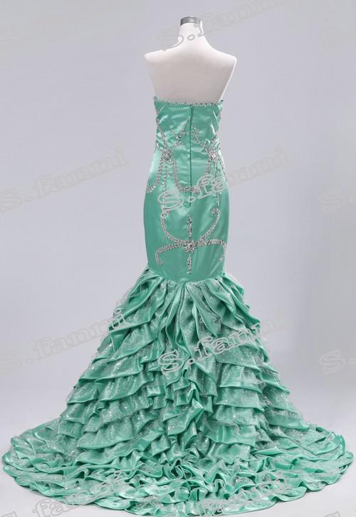 2021 Fashional Echtes Foto Meerjungfrau Hohe Qualität Schatz Perlen Elegante lange formale Abendkleider Sexy Kristall