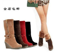 Wholesale Rivet Wedges - 2016 snow boots thick bottom female boots with two wear high cotton shoes winter boots (4 colors)