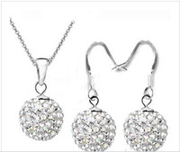 Wholesale Disco Ball Necklace Silver Chain - Fashion 925 silver AB Color Disco Crystal Beads Ball Pendant Necklaces Earrings Chains 30set lot