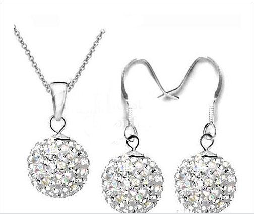 Fashion 925 silver AB Color Disco Crystal Beads Ball Pendant Necklaces Earrings Chains 30set/lot