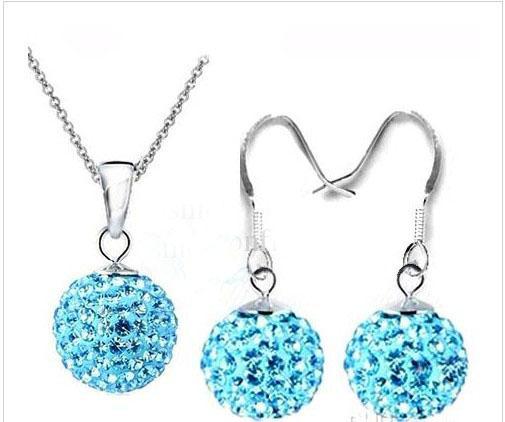 Moda 925 plata AB Color Disco Crystal Beads Ball Colgante Collares Pendientes Cadenas 30 set / lot