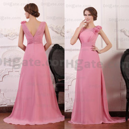 Wholesale Designer White Ivory Chiffon Beach - Hot Selling Flower V Shape Back 2015 Elegant Evening Party Chiffon Bridesmaid Dress BD006
