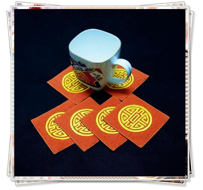 Unternehmens-Getränk-Untersetzer-Sätze China gesticktes 5sets / lot (1set = 6pcs) mischen die freie Farbe
