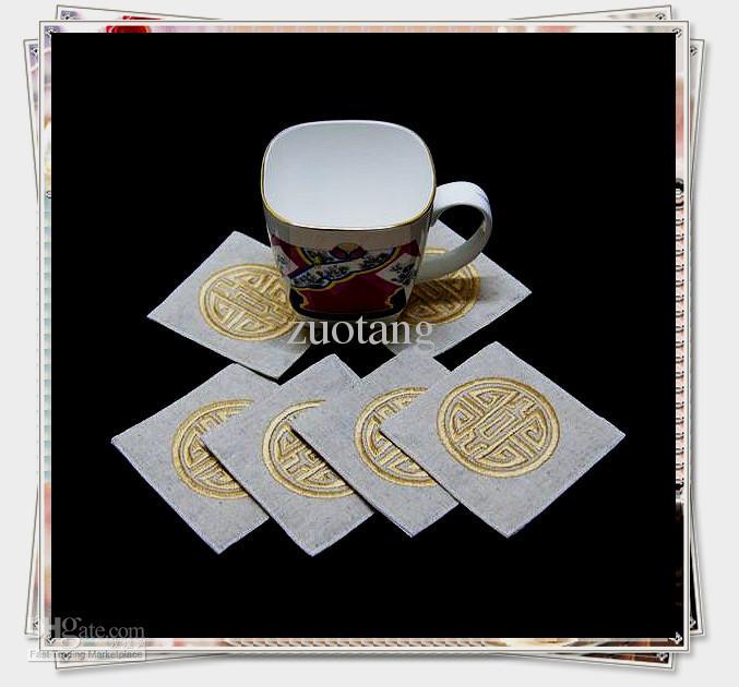 Corporate Drink Coasters sätter Kina broderade 5sets / lot (1set = 6pcs) Blanda färgfri