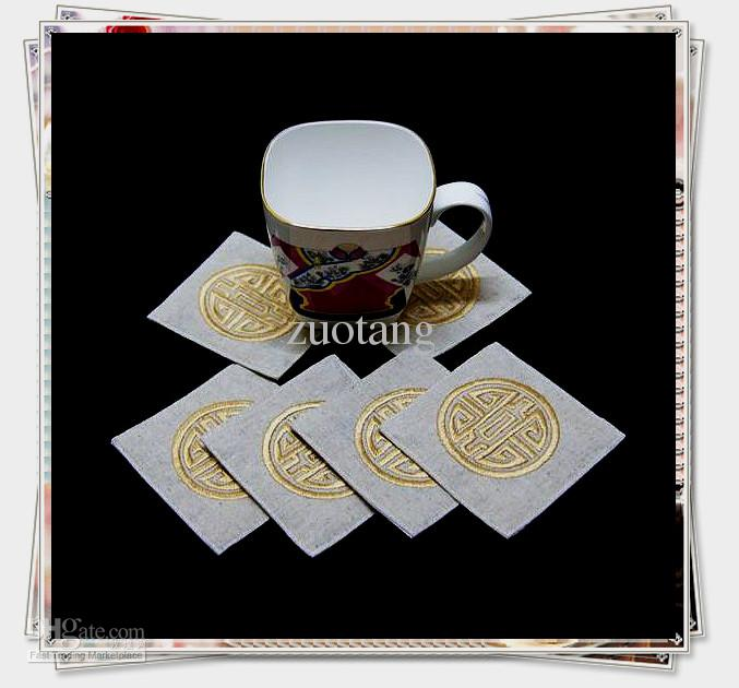 Corporate Drink Coasters Sets China Embroidered 5sets/lot (1set=6pcs) mix color Free