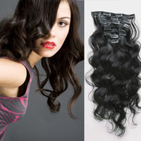 Wholesale brazilian human hair 18 5a resale online - A quot quot Unprocessed Brazilian remy Hair body wave clip in hair remy human hair extensions B Natural black g set