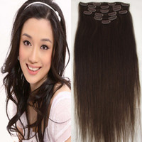 Wholesale real dark brown hair extensions for sale - Group buy g pc pc set dark brown A real human hair brazilian hair clips in extensions straight full head high quality