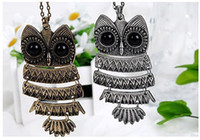 Wholesale Owl Necklace Korea - Korea Adorn Article Vintage Antique Owl Pendants Necklace,Ancient the Owl Sweater Chain Jewelry Shipping Free