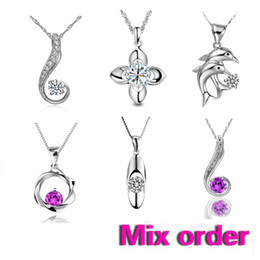 Wholesale Order Asian Fashion - FASHION Jewelry Mixed order 925 Sterling silver pendant Necklace Crystal Pendant 6pcs lot 35