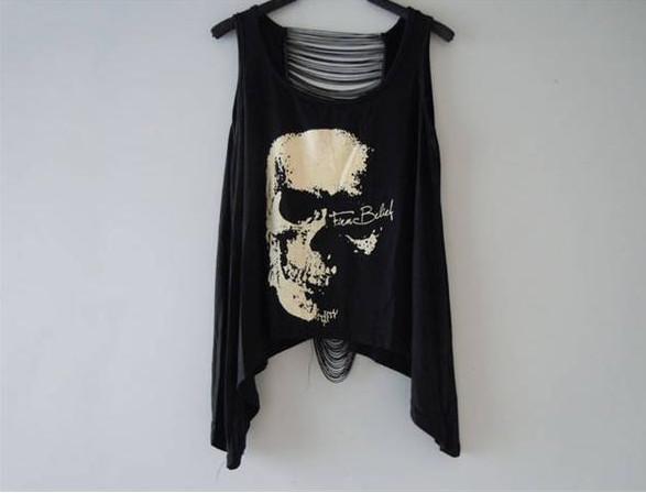 Groothandel - Nieuwe aangekomen, Hot Selling T-shirts Schedel Punk Singlet Jurk Vintage Tank Pop Sexy Top Lange T-shirt T-shirt