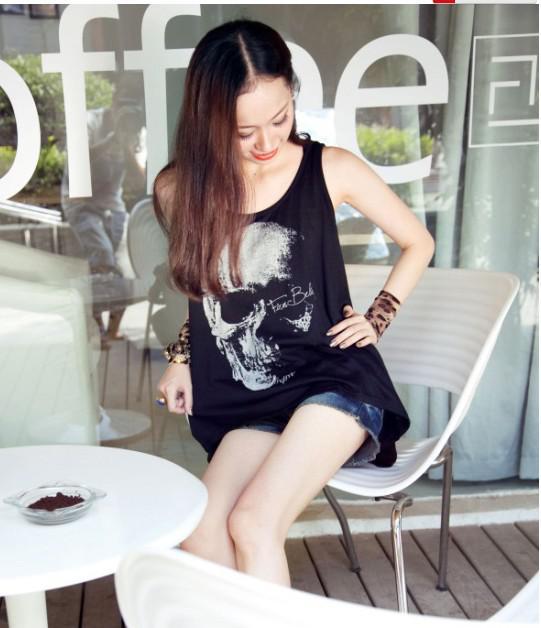 Venda por atacado - 2014 moda T-shirts Crânio Punk Singlet Vestido Vintage Tank Pop Sexy Top longo Tee T-shirt